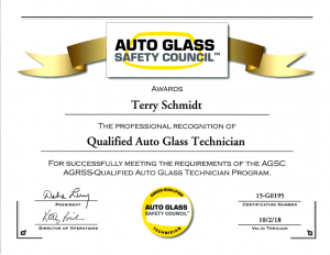 Austin Windshield Plus - Terry Schmidt - Auto Glass Safety Council Quality Auto Glass Technician Certification 10.9.15